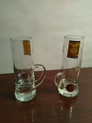 2-Vintage Etched Crystal Glass Shot Glasses With Handle Made In  Turkey