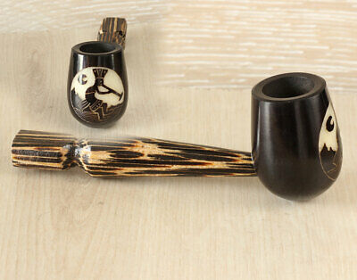 Lunar Flutist Wood pipe hand Carved smoking Pipe Tobacco Tagua Pot Herb