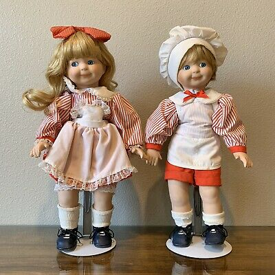 """2 Vintage 14.5"""" Red White Boy Girl Chef Campbell Style Porcelain Dolls"""
