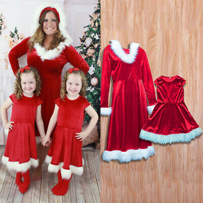 Mother Daughter Christmas Matching Dress Long Sleeve Outfit Casual Mini Dresses