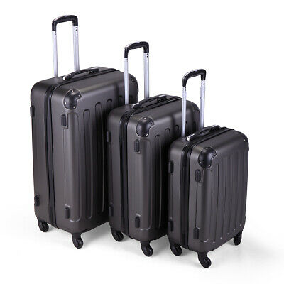 Gray 3 Piece Suitcase Bag Travel Luggage Set  W/Spinner Coded Lock Dust Cover