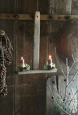 Primitive Christmas/Everyday Lath Double Candle Holder~Nubs~Pine Candle Rings