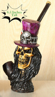 Skull & Hat Prp Hand Crafted Figurine Smoking Pipe Tobacco Pot herb
