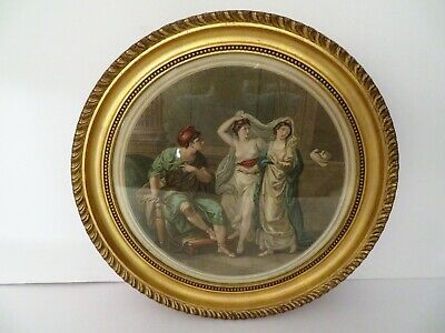 """Angelica Kauffman Antique Lithograph Picture 1800s Round Guilt Framed Mint 15"""""""