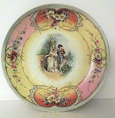 "Antique Royal Vienna Beehive 14"" Large Porcelain Hand Painted Wall Plate Charger"