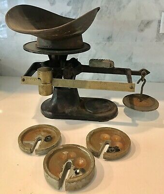 Antique Fairbanks Cast Iron & Brass Scale And Weights
