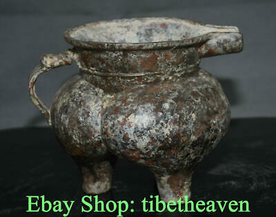 "8.4"" Old China Bronze Ware Dynasty Palace Dragon Handle Wine Drinking Vessel"