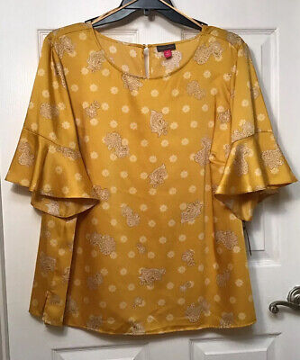 Vince Camuto Women's Plus Size 3X Gold Paisley Lemon Tart Tunic Top New $89