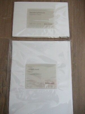 John Lewis Egyptian Cotton Single Fitted Sheet & Pillowcase Cover
