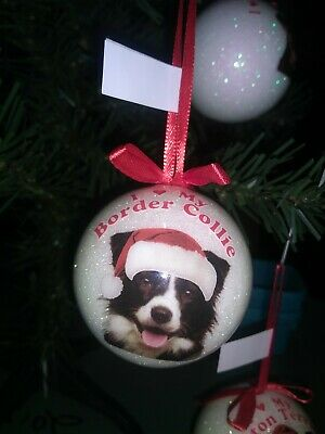 New I Love My Border Collie Dog Glass Christmas Ornament New With Tags Gift