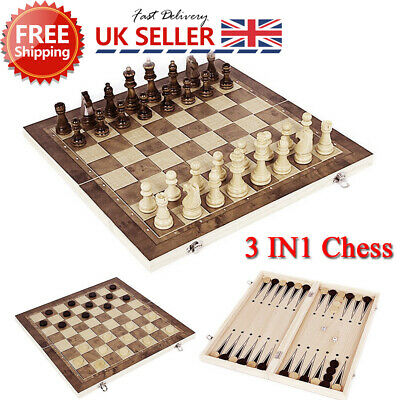 Folding Large Chess Wooden Set Chessboard Magnetic Pieces Wood Board Gift Toy ME