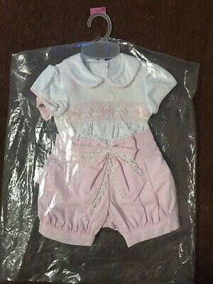 BNWT Pretty Originals Baby Girls 3pc Smocked Outfit, Pink White Spanish