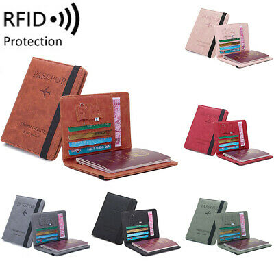 Travel Passport Holder Wallet Holder RFID Blocking Leather Card Case Cover