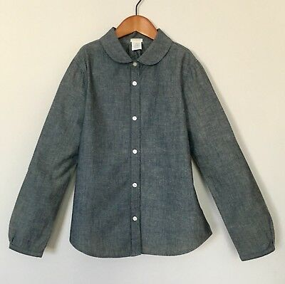 J.Crew Crewcuts Girls Shirt Blue Chambray with Rounded Collar 10 Years EUC