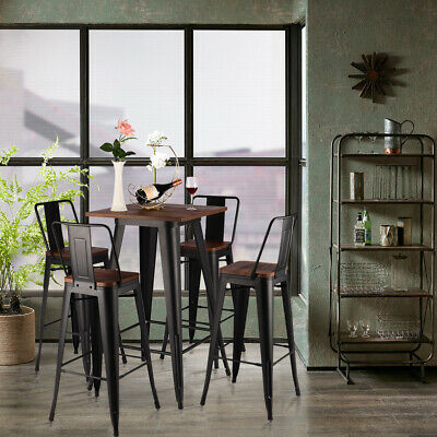 Wood Top Industrial Retro Iron Bar Table And 2/4 Seater Stool Set Kitchen Dining