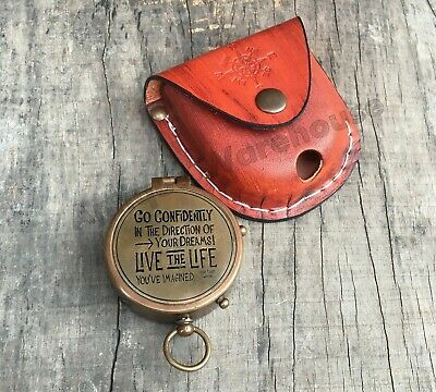 Nautical Antique Brass Pocket Compass With Leather Case Vintage Marine Decor
