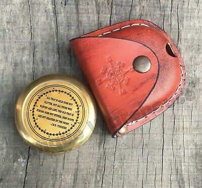 Brass Antique Nautical Pocket Compass With Leather Case Marine Camping Compass G
