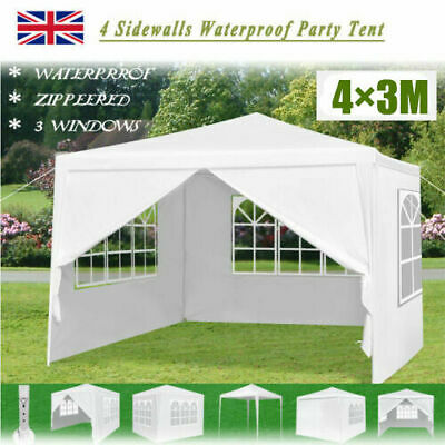 3×4m Heavy Duty Waterproof Gazebo Marquee Canopy Party Tent Garden Patio White