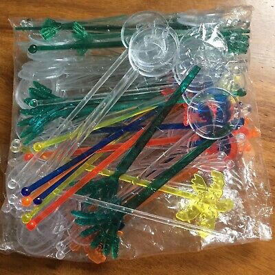 90 x Swizzle Sticks Clear Centara Resorts & Colored Palm Trees