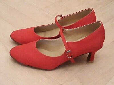 Candy red dance shoes with suede soles and low heel size 38