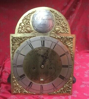 Antique Brass Dial Grandfather Longcase  Clock Movement Jn Thomson Leslie