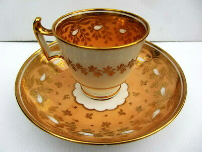 Antique China Porcelain TEA DUO c1800s Deep Well Plated HANDPAINTED Gold Leaves