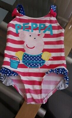 12 - 18 months Baby Swimming Costume Sparkly Peppa Pig Pink White Stripe