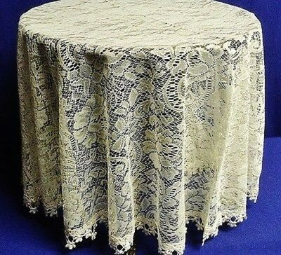 """60"""" Round Lace Tablecloth Rose Garden Ivory with Venice Lace Trim Dining Room"""