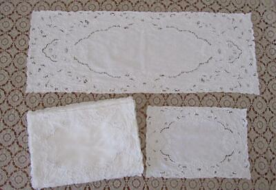 Set 12 Embroidered White Linen Placemats + Matching Table Runner Place Mats