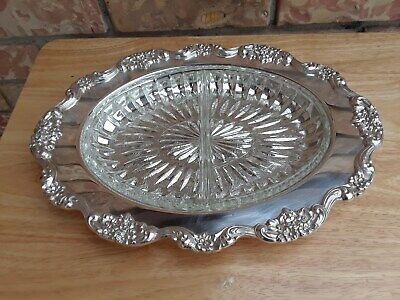 Lancaster Rose Silver Plate EPCA  By POOLE  #439 Oval Shape Tray W/ Glass Incert