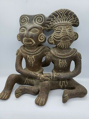Pre Columbian replica of Mayan couple priest king queen antiqued pottery #45