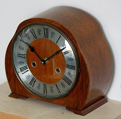 VINTAGE 20cm Wooden Mantel Clock - German Antique Retro Wood Desk Clock Gift