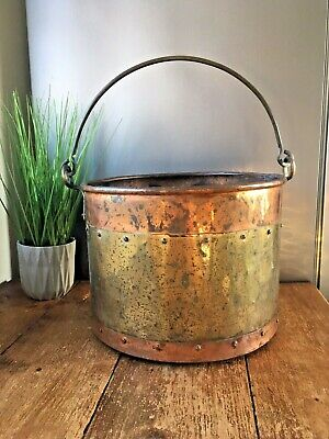 Large Antique Copper & Brass Riveted Fire Side Coal Bucket Log Storage Rustic