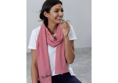 Joules Ladies Coast Scarf Striped Embroidered Scarf Red