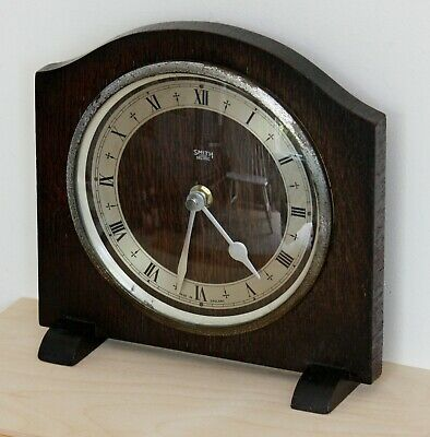 VINTAGE 18cm Smiths Enfield Mantel Clock - Retro Wooden Antique Desk Clock Gift