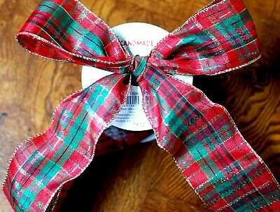 """Red Green Gold Stripe Thread Christmas Ribbon Wire 7//8/"""" W x 9 FT Bows Gifts"""