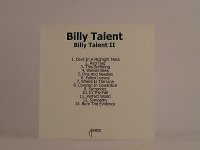BILLY TALENT, BILLY TALENT II, 484, EX/EX, 13 Track, Promo CD Album, White Sleev