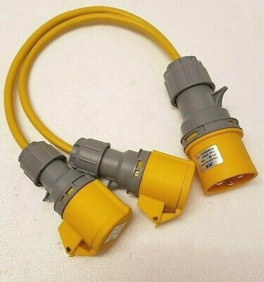 110V 32 AMP Plug to 2 x 16 AMP Sockets Splitter 2 Way 2.5mm Arctic Yellow Cable