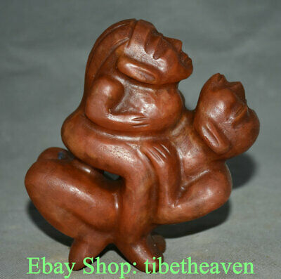 """6.4"""" Antique China HongShan Culture Red Carving Man Women make love Statue"""