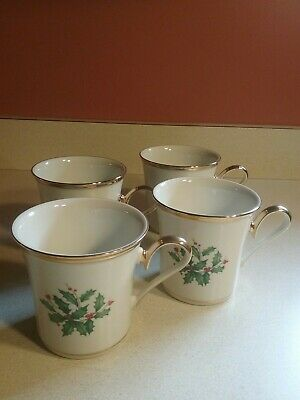 Set 4 Lenox Dimension Collection Holly Berry Gold Rims Coffee Mugs Cups Holiday