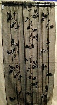 "56"" X 84"" Lace Window Panel Black Leaf Livingroom Diningroom Bedroom Den"