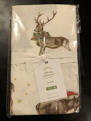 NWT Pottery Barn S/2 ~SILLY STAG~ Standard PILLOWCASE Set ~CHRISTMAS~ Deer