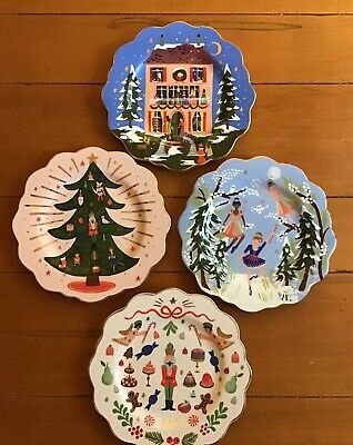 S/4 Anthropologie Rifle Paper Co Nutcracker Dessert Plates NEW Christmas 2019