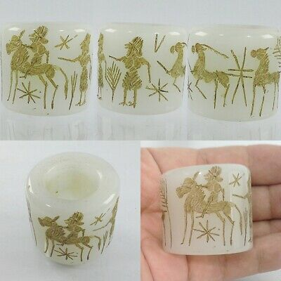 Near Eastern Medieval Ring White Jade Intaglio Antique US-13 #A30