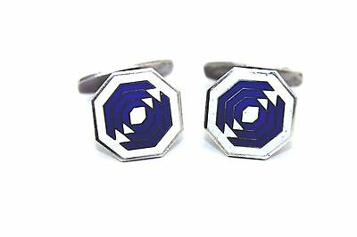 Vtg Denmark Modernist MEKA Sterling Silver Blue White ENAMEL Abstract Cufflinks