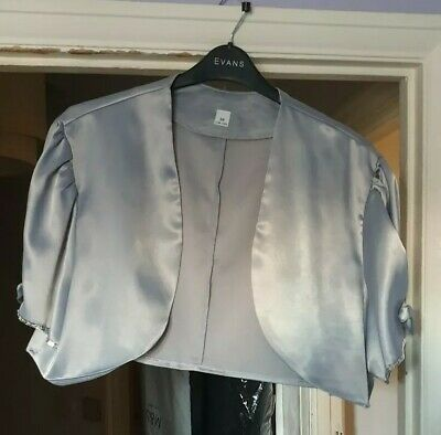 Silver Satin Bolero Size 22 with sequin detail worn once