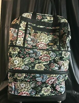 Vintage Travel Well Rolling Duffle Expandable Floral Brocade GUC Spinner Wheels