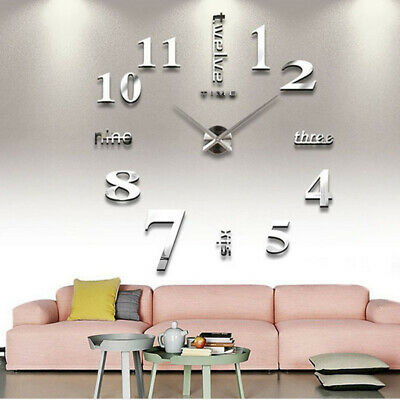 3D DIY Extra Large Numerals Luxury Mirror Wall Sticker Clock Home Decor