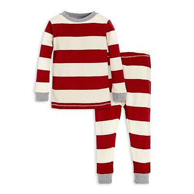 NWT BABY BOY BURTS BEES BABY ORGANIC COTTON PAJAMA SET SIZE 2T Red Rugby Stripe