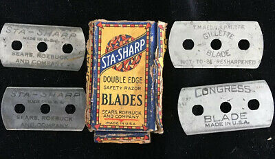 Vintage  STA-SHARP DE  Safety  Razor Blades With Box ~ GILLETTE BLADE ~ CONGRESS
